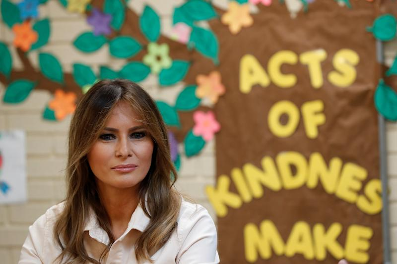 U.S. first lady Melania Trump visits the Lutheran Social Services of the South
