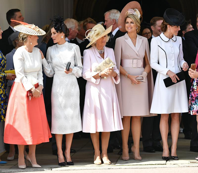 WINDSOR, UNITED KINGDOM - JUNE 17: (EMBARGOED FOR PUBLICATION IN UK NEWSPAPERS UNTIL 24 HOURS AFTER CREATE DATE AND TIME) Sophie, Countess of Wessex, Queen Letizia of Spain, Camilla, Duchess of Cornwall, Queen Maxima of the Netherlands and Catherine, Duchess of Cambridge attend the Order of the Garter service at St George's Chapel on June 17, 2019 in Windsor, England. The Most Noble Order of the Garter is the oldest and most senior Order of Chivalry in Britain, established by King Edward III in 1348. This year saw the installation of King Felipe of Spain and King Willem-Alexander of The Netherlands as Supernumerary or Stranger Knights of the Garter. (Photo by Pool/Max Mumby/Getty Images)