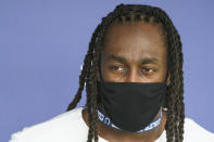 Indianapolis Colts wide receiver T.Y. Hilton speaks to the media as the players reported to the NFL team's football training camp in Westfield, Ind., Tuesday, July 27, 2021. Practice open on Wednesday. (AP Photo/Michael Conroy)