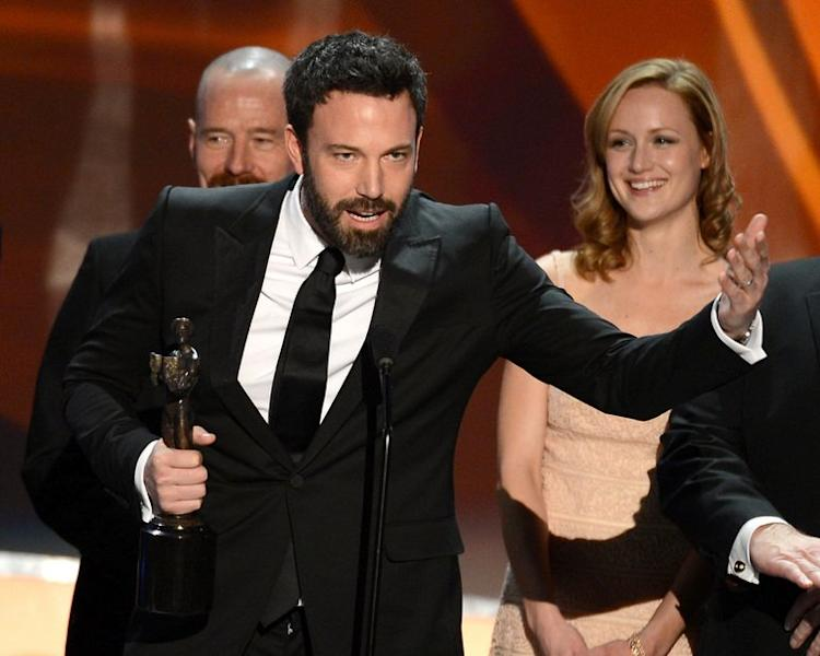 """Ben Affleck, who directed and starred in """"Argo"""", wins the best film drama prize at the Screen Actors Guild awards on January 27, 2013 in Los Angeles, California. It was the second top prize in as many days for Affleck after his film won the Producers Guild of America award, a key bellwether for Oscars glory, on Saturday night"""