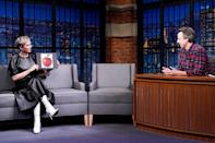 <p>Kristen Wiig visits her former <em>Saturday Night Live</em> colleague Seth Meyers at <em>Late Night </em>ahead of her <em>SNL</em> hosting gig this weekend on Thursday in N.Y.C. </p>