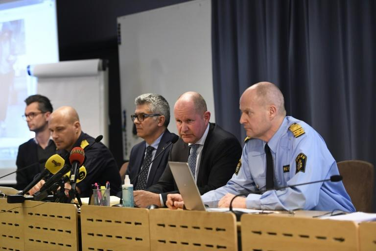 Jan Evesson, Mats Johansson, Anders Thornberg, National Police Commissioner Dan Eliasson, Swedish Security Service (SAPO) Mats Lofving hold a press conference at Police Headquarters central Stockholm on April 7, 2017
