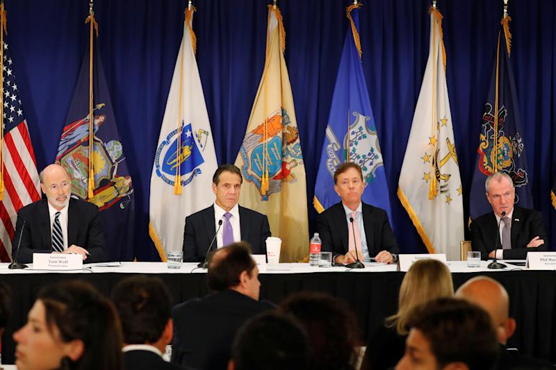 New York Governor Andrew M. Cuomo, Connecticut Governor Ned Lamont, New Jersey Governor Phil Murphy and Pennsylvania Governor Tom Wolf take part in a regional cannabis and vaping summit in New York City, New York, U.S., October 17, 2019. REUTERS/Lucas Jackson