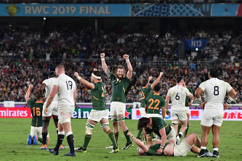 South Africa's players (green) celebrate winning the Japan 2019 Rugby World Cup final match between England and South Africa at the International Stadium Yokohama in Yokohama on November 2, 2019. (Photo by Kazuhiro NOGI / AFP) (Photo by KAZUHIRO NOGI/AFP via Getty Images)