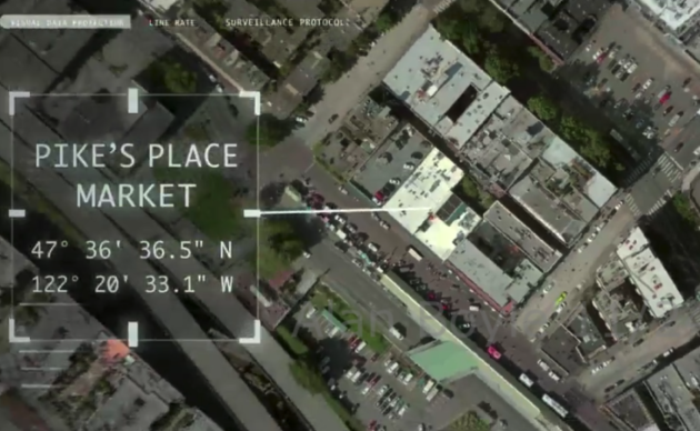"A graphic that makes an appearance in ""Superintelligence"" mislabels Pike Place Market, but hits the mark precisely on latitude and longitude. (New Line Cinema / HBO Max / WarnerMedia)"