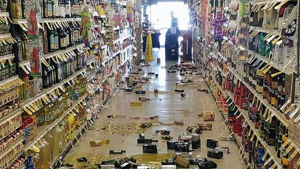 PHOTO: This handout picture obtained courtesy of Rex Emerson taken on July 4, 2019 shows broken bottles and other goods in a store in Lake Isabella, Calif., after a 6.4 magnitude quake hit Southern California. (Rex Emerson via AFP/Getty Images)