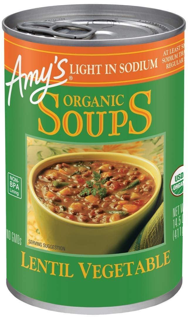 <p>If you're looking for something with low sodium, try this <span>Amy's Soups Organic Lentil Vegetable Soup</span> ($2).</p>