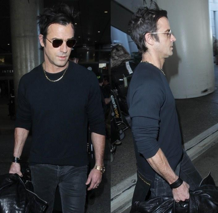 <p>Justin Theroux walked the line between jet-lagged 45-year-old human and grooming god at LAX with unwashed hair that landed on the right side of unkempt. It was undeniable proof that a good haircut and the right product will allow you to forget about your hair entirely and still look great.</p>