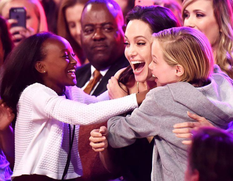 Zahara and Shiloh join Angelina Jolie at the Kids' Choice Awards. (Photo: Jeff Kravitz/FilmMagic)