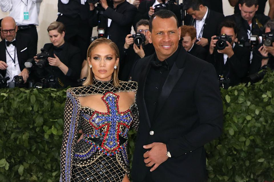 Jennifer Lopez and Alex Rodriguez attend the 2018 Costume Institute Benefit at Metropolitan Museum of Art. (Photo by Taylor Hill/Getty Images)