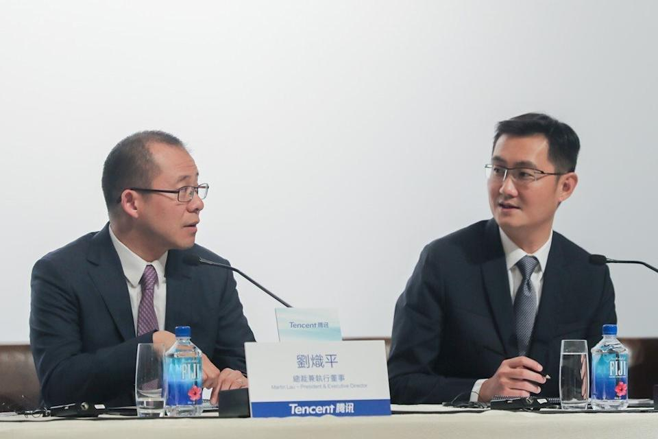 Martin Lau, president of Tencent Holdings (left) and Ma Huateng, chairman and chief executive officer, at a news conference in Hong Kong on March 22, 2017. Photo: Bloomberg