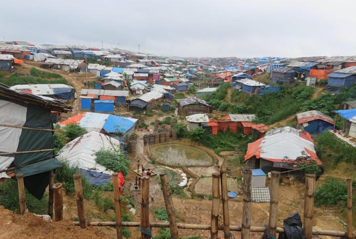 """<span class=""""caption"""">Tents in a Rohingya refugee camp cluster on a muddy hillside in Bangladesh.</span> <span class=""""attribution""""><span class=""""source"""">Saleh Ahmed</span>, <a class=""""link rapid-noclick-resp"""" href=""""http://creativecommons.org/licenses/by-nd/4.0/"""" rel=""""nofollow noopener"""" target=""""_blank"""" data-ylk=""""slk:CC BY-ND"""">CC BY-ND</a></span>"""
