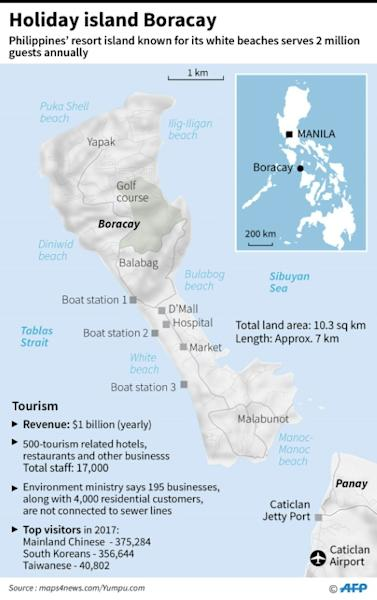 Map and factfile on the Philippines' best known holiday island Boracay