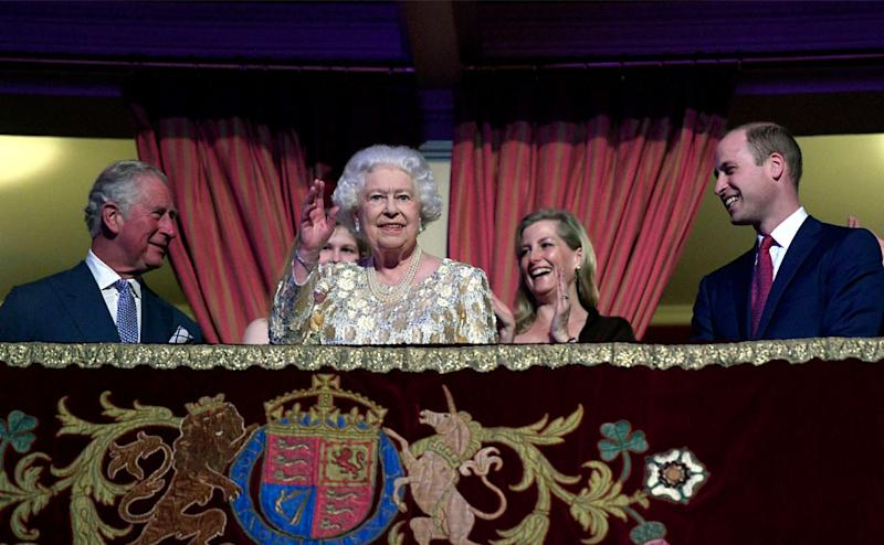 The queen was flanked in the royal box by Charles, heir to the throne, and Prince William, next in the line of succession. AP