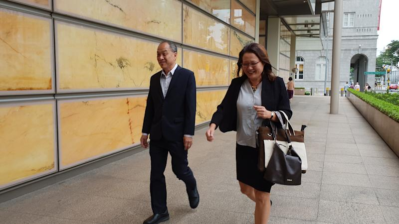 The Workers' Party's former chief Low Thia Khiang and chairman Sylvia Lim attending the Aljunied-Hougang Town Council (AHTC) hearing on 16 October 2018. PHOTO: Wan Ting Koh/Yahoo News Singapore