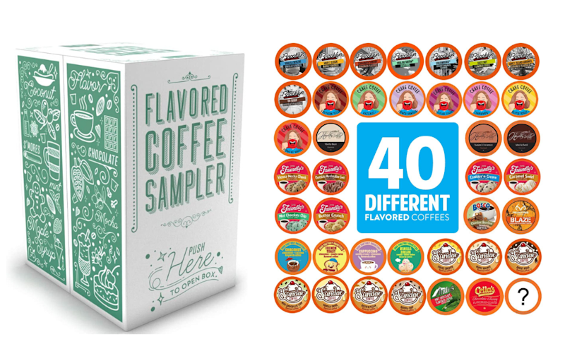 Two Rivers Coffee Flavoured Coffee Pods Variety Pack. Images via Amazon.