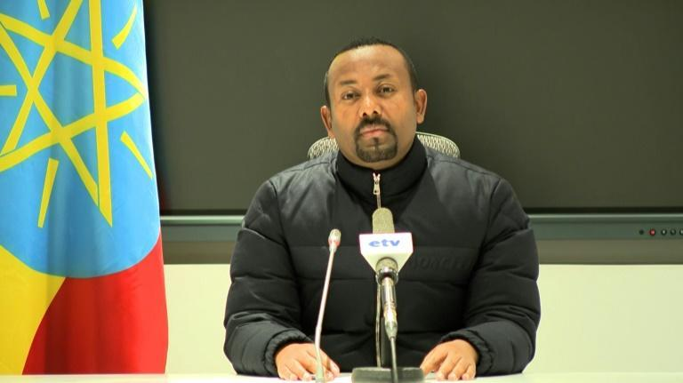 Prime Minister Abiy Ahmed, pictured on the public broadcaster EBC as he announced the military response on Wednesday