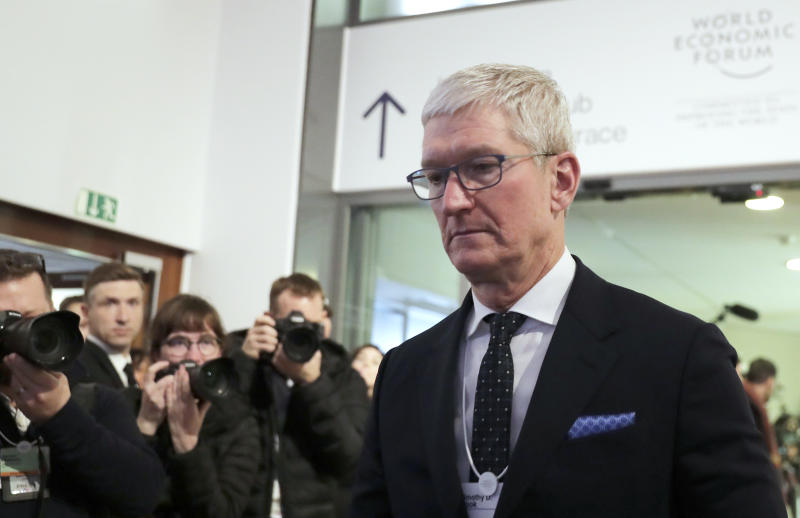 Apple's CEO Tim Cook is photographed at the World Economic Forum in Davos, Switzerland, Tuesday, Jan. 21, 2020. The 50th annual meeting of the forum will take place in Davos from Jan. 21 until Jan. 24, 2020. (AP Photo/Markus Schreiber)