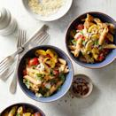 <p>This easy and healthy pasta recipe takes just 20 minutes to prep so it's a perfect weeknight dinner. Cooking garlic cloves whole and then mashing them into the sauce not only saves time, it creates a mellow garlic flavor that melds seamlessly into the silky burst cherry tomatoes.</p>