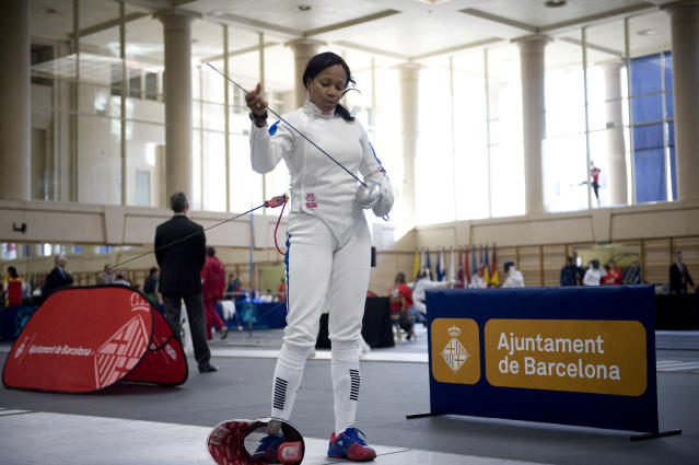 BARCELONA, SPAIN - MARCH 09: Laura Flessel-Colovic of France looks on during the 36th International Ciutat de Barcelona World Cup Ladies Epee Fencing tournament at the INEFC Center on March 9, 2012 in Barcelona, Spain. (Photo by David Ramos/Getty Images)
