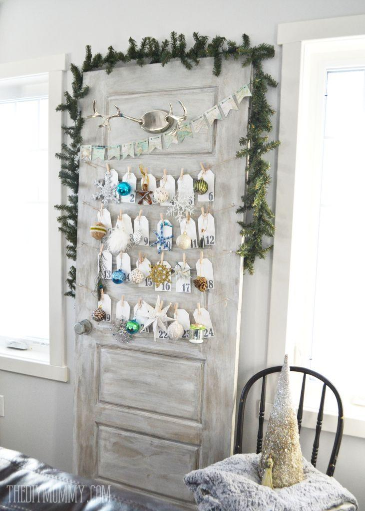 """<p>This door got a rustic treatment on the surface so it wouldn't blend into the wall, while cards hang from string for each day of December, creating a creative advent calendar.</p><p><a href=""""http://thediymommy.com/make-a-daily-ornament-advent-calendar-from-an-old-door/"""" rel=""""nofollow noopener"""" target=""""_blank"""" data-ylk=""""slk:Get the tutorial at The DIY Mommy »"""" class=""""link rapid-noclick-resp""""><em>Get the tutorial at The DIY Mommy »</em></a></p>"""