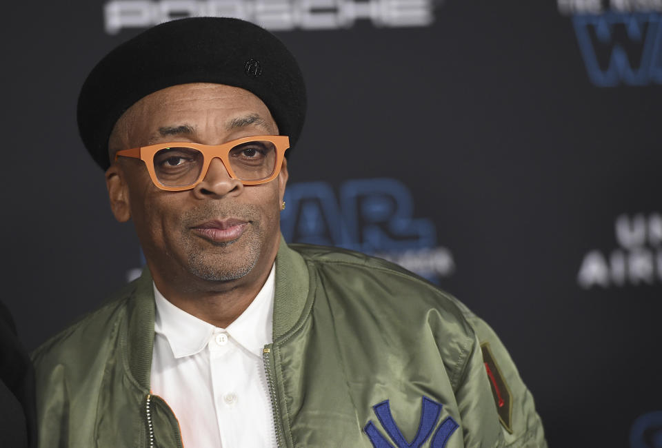 """Spike Lee arrives at the world premiere of """"Star Wars: The Rise of Skywalker"""" on Monday, Dec. 16, 2019, in Los Angeles (Jordan Strauss/Invision/AP)"""