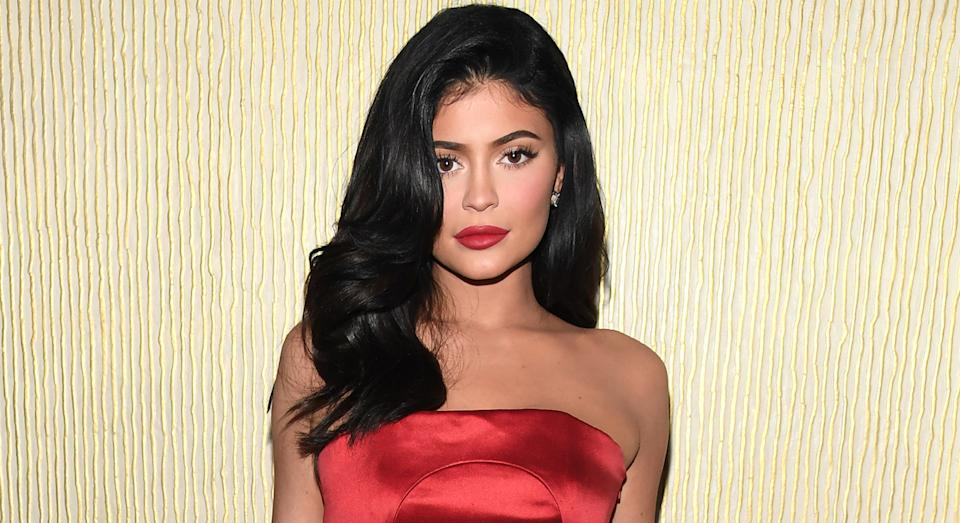 Kylie Jenner showcased her flawless complexion at the Pre-GRAMMY Gala in February last year.  (Getty Images)