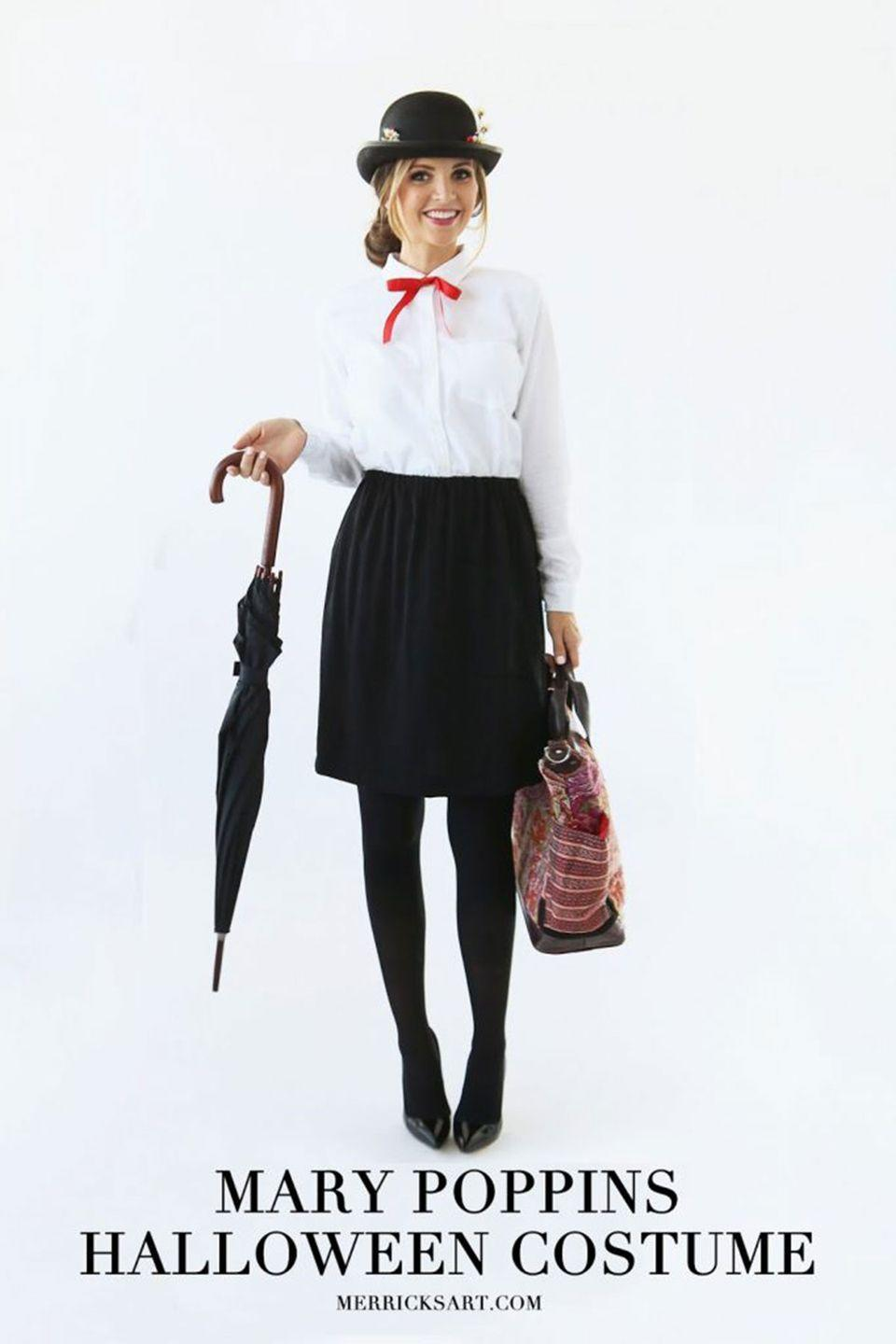 """<p>Pack your purse in the most delightful way—with candy, a flashlight, and any other Halloween essentials. You'll be just like the real Mary Poppins!</p><p><strong>Get the tutorial at <a href=""""http://www.merricksart.com/2015/10/modern-girls-halloween-week-mary.html"""" rel=""""nofollow noopener"""" target=""""_blank"""" data-ylk=""""slk:Merrick's Art"""" class=""""link rapid-noclick-resp"""">Merrick's Art</a>. </strong></p><p><strong><a class=""""link rapid-noclick-resp"""" href=""""https://www.amazon.com/Deluxe-Costume-Funny-Party-Hats/dp/B00CQNZN7E/ref=sr_1_7?dchild=1&keywords=bowler+hat&qid=1624891729&sr=8-7&tag=syn-yahoo-20&ascsubtag=%5Bartid%7C10050.g.4571%5Bsrc%7Cyahoo-us"""" rel=""""nofollow noopener"""" target=""""_blank"""" data-ylk=""""slk:SHOP BOWLER HATS"""">SHOP BOWLER HATS</a><br></strong></p>"""