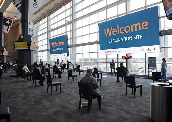The waiting area at the Gillette Stadium/CIC Health COVID-19 Vaccination Site. The site officially opened Jan. 18. Eligible recipients can schedule appointments at cic-health.com/vaccines.
