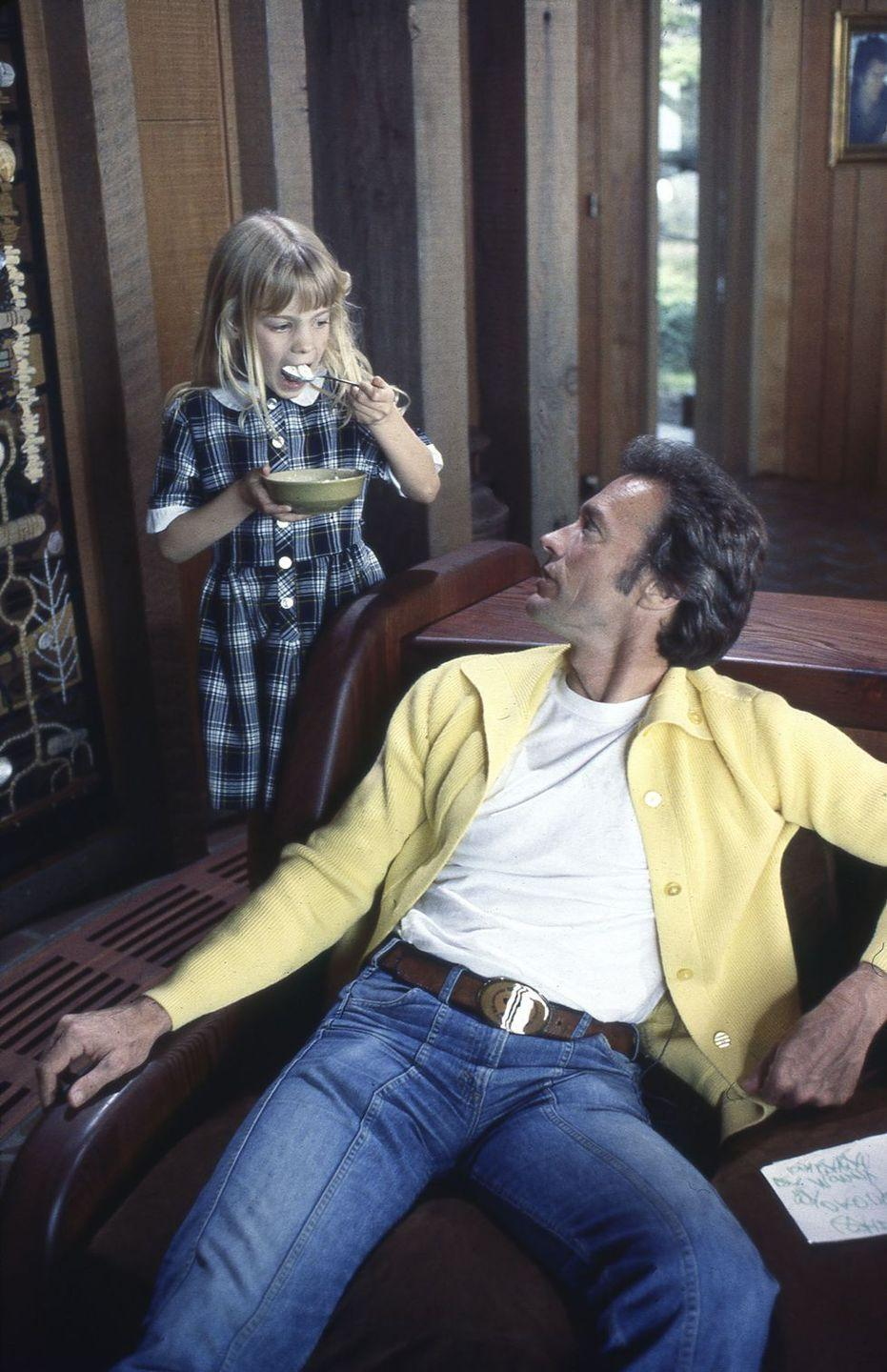 <p>Eastwood and his daughter, Alison, at his home in Pebble Beach, California. </p>