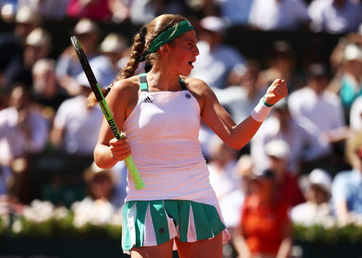 Jelena Ostapenko celebrates during her French Open final against No. 3 Simona Halep. (Getty Images)