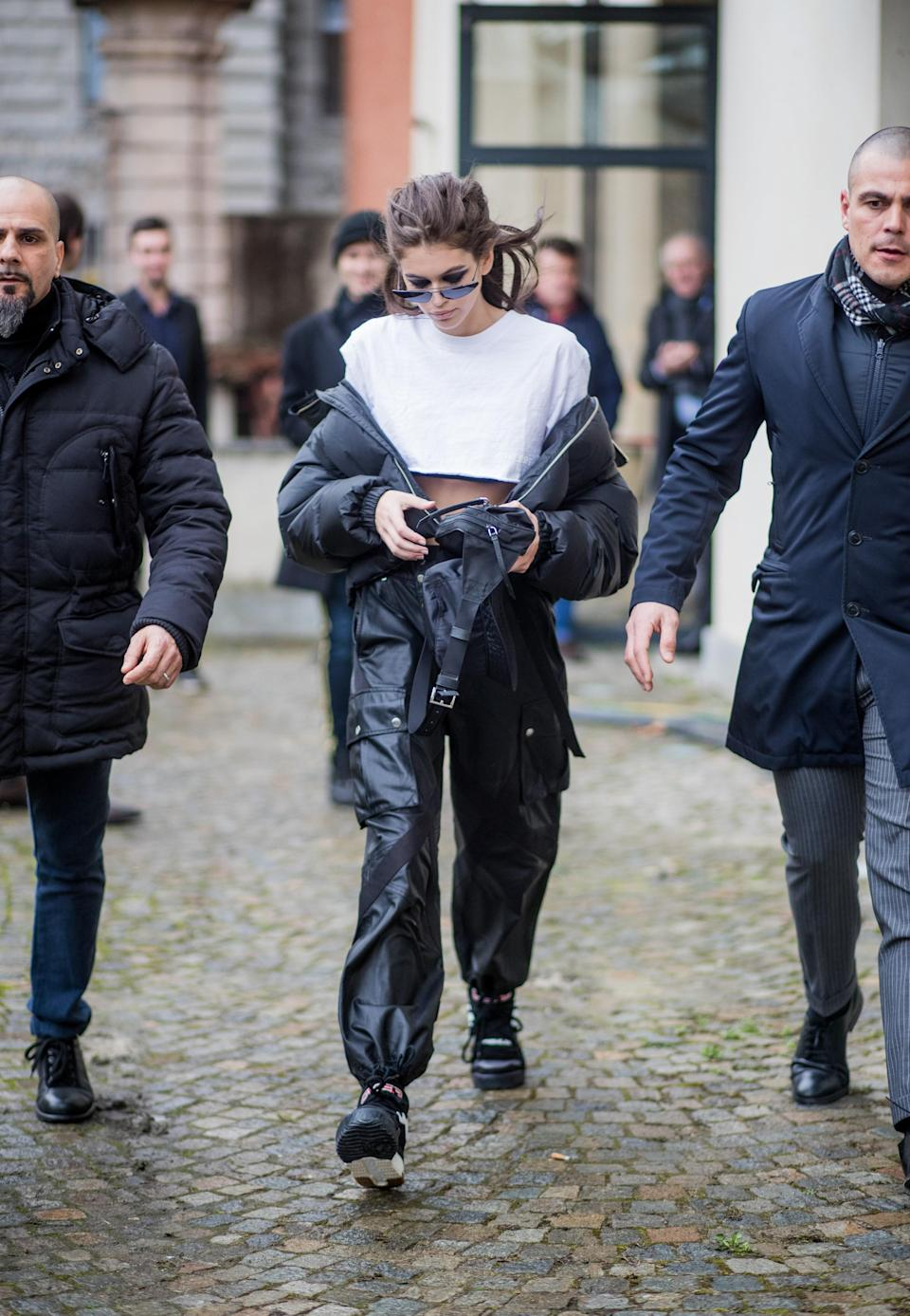 This look epitomizes the grungier, sportswear aesthetic Kaia (and many others) frequently sported this year.