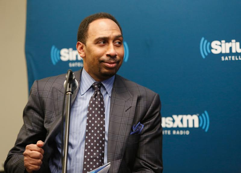 """NEW YORK, NY - FEBRUARY 13:  Stephen A. Smith attends SiriusXM's """"Town Hall"""" With Clyde Drexler, Isiah Thomas, Dominique Wilkins and Stephen A. Smith at SiriusXM Studio on February 13, 2015 in New York City.  (Photo by Robin Marchant/Getty Images for SiriusXM)"""