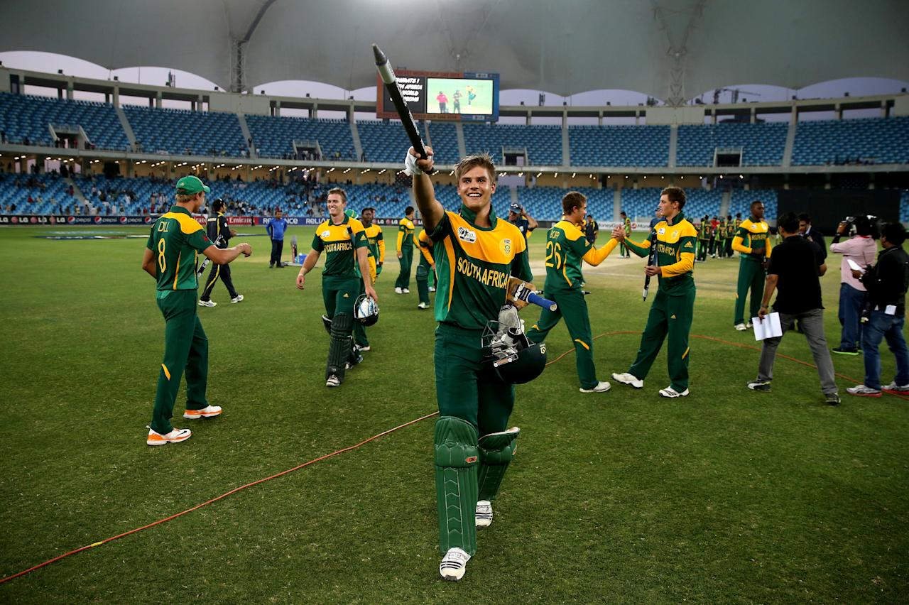 DUBAI, UNITED ARAB EMIRATES - MARCH 01: Aiden Markram of  South Africa celebrates after winning the ICC U19 Cricket World Cup 2014 Super League Final match between South Africa and Pakistan at the Dubai Sports City Cricket Stadium on March 1, 2014 in Dubai, United Arab Emirates.  (Photo by Francois Nel - IDI/IDI via Getty Images)