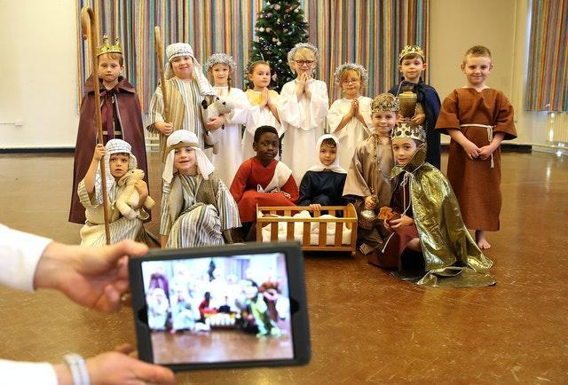 Pupils at Manor Park School and Nursery in Knutsford, perform their Christmas nativity play (Martin Rickett/PA)