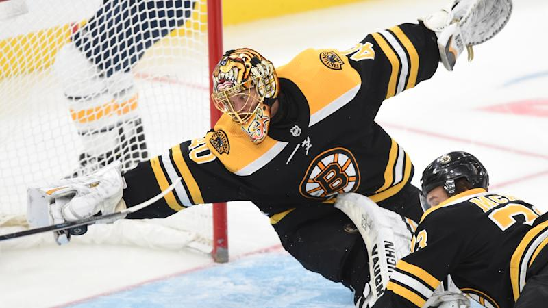 Boston Bruins goaltender Tuukka Rask robbed Buffalo Sabres forward Evan Rodrigues of a sure-fire goal. (Steve Babineau/NHLI via Getty Images)
