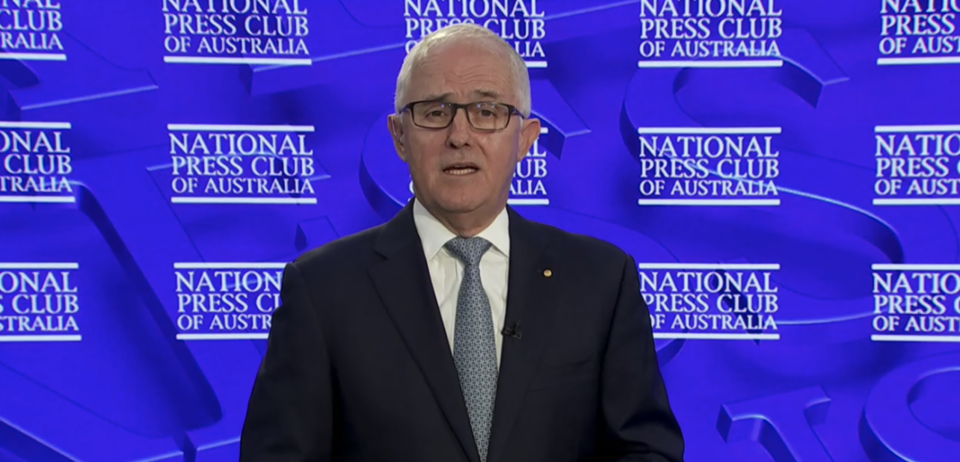 Former Prime Minister Malcolm Turnbull pictured addressing the National Press Club. Source: AAP