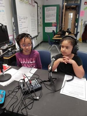 Students at Diamond Lakes Elementary in Hephzibah, Georgia use headsets and podcasting equipment purchased with grant money from the Krystal Foundation.