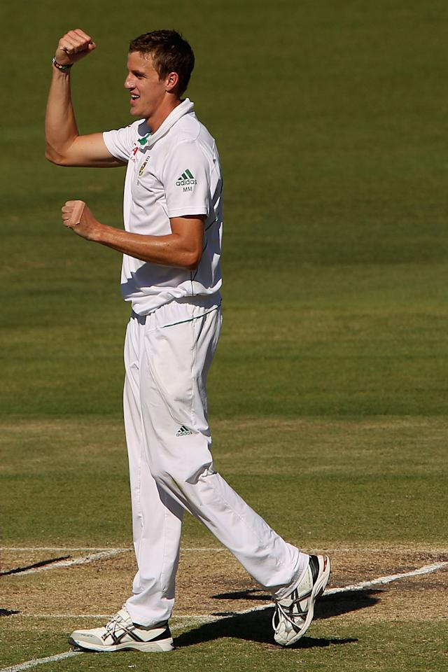PERTH, AUSTRALIA - DECEMBER 03:  Morne Morkel of South Africa celebrates the wicket of John Hastings of Australia during day four of the Third Test Match between Australia and South Africa at the WACA on December 3, 2012 in Perth, Australia.  (Photo by Robert Prezioso/Getty Images)