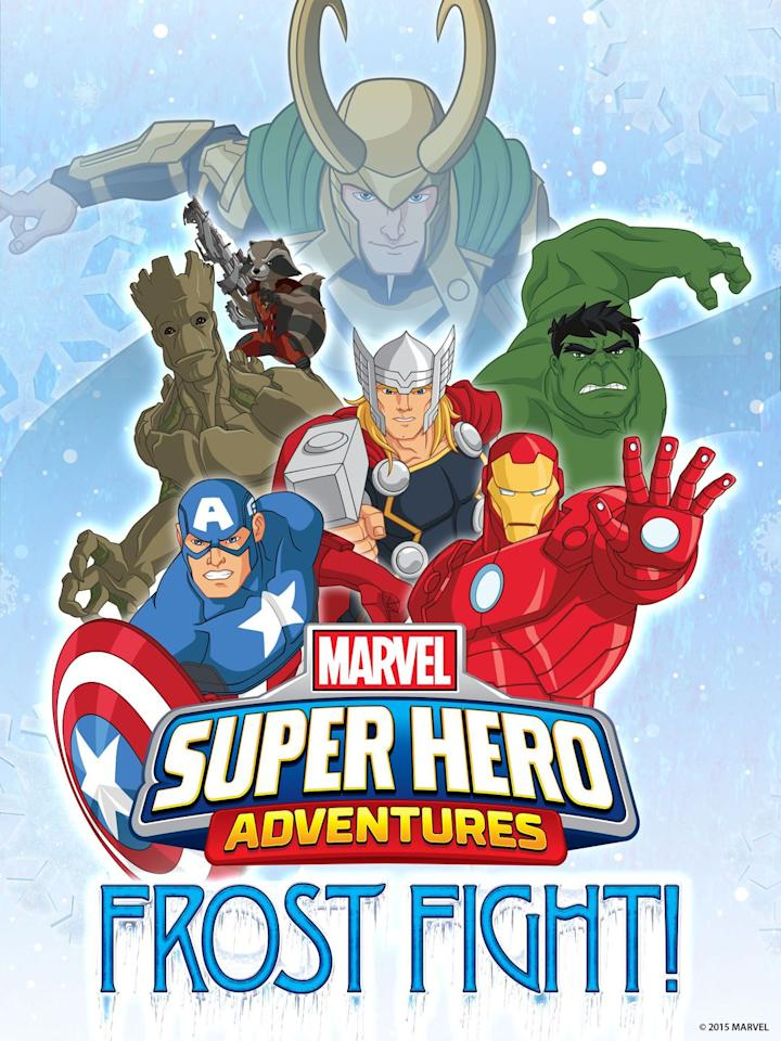 """<p><em>Marvel Super Hero Adventures: Frost Fight!</em> features some of your favorite Marvel super heroes-such as Captain America and a few of the other Avengers-as they try to stop Loki and frost giant Ymir from snatching Santa's powers.</p><p><a rel=""""nofollow"""" href=""""https://www.netflix.com/title/80023667"""">WATCH NOW</a></p>"""