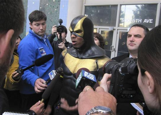 """Benjamin Fodor, aka Seattle superhero """"Phoenix Jones"""", speaks to the media after making a court appearance in Seattle, Washington October 13, 2011. Prosecutors have so far declined to charge Fodor, a onetime mixed-martial arts competitor who was arrested on Sunday after he pepper-sprayed a group of nightclub patrons he believed were involved in a street brawl downtown."""
