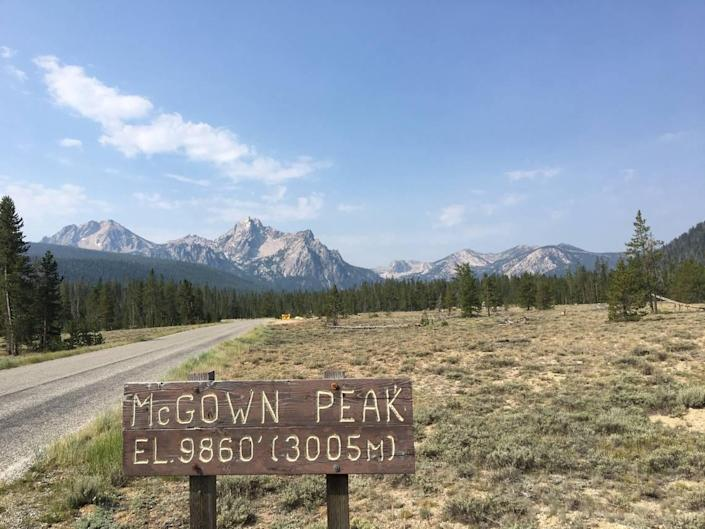 This wooden sign, photographed July 11, 2021, on the road into the Stanley Lake campground carries the misspelling of McGowan Peak. The name was misspelled on a U.S. Geological Survey map in 1972, and the misspelling caught on and can be found just about everywhere today. The McGowan family would like the error corrected.