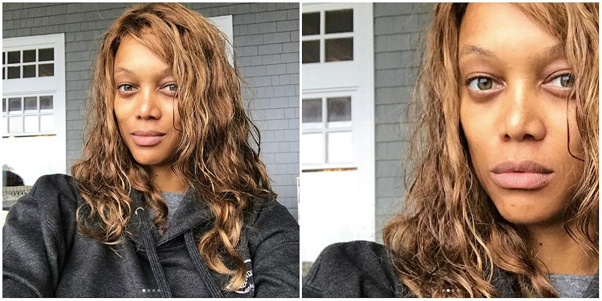 """<p><strong>When: Oct. 18, 2017</strong><br />It's been a few years since Tyra Banks strutted the runway, but the 43-year-old TV mogul proved she still looks just as flawless, even without a stitch of makeup on. Rocking un-styled bedhead waves, Banks posted a series of makeup-free, filter-free selfies to Instagram with one simple caption: """"Me."""" And fans cant get over how youthful she looked: 'You look so young like 15,"""" one fan complimented, while another gushed """"How do you never age? You are beautiful."""" <em>(Photos: Instagram) </em> </p>"""