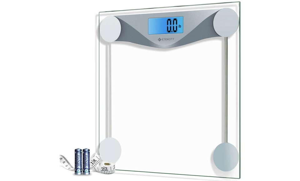 The clear scale looks great in any bathroom. (Photo: Amazon)