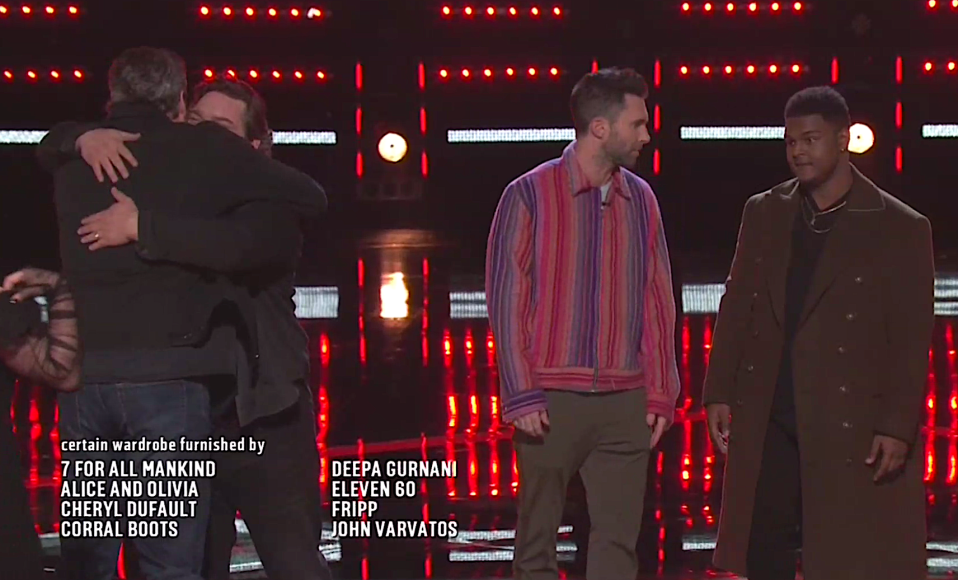Compare and contrast the body language of Blake Shelton saying goodbye to Dave Fenley and Adam Levine with DeAndre Nico. (Photo: NBC)