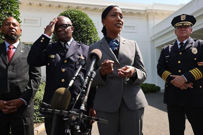 Memphis Police Chief C.J. Davis (C) talks to reporters with (L-R) Community-Based Public Safety Collective Co-Founder Aqeela Sherrills, Chicago Police Superintendent David Brown and Wilmington Police Chief Robert Tracy outside the West Wing following a meeting with U.S. President Joe Biden and U.S. Attorney General Merrick Garland about reducing gun violence at the White House on July 12, 2021 in Washington, DC.. (Photo by Chip Somodevilla/Getty Images)