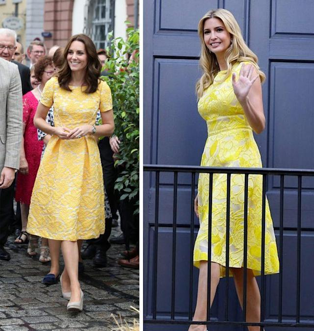 Kate Middleton's yellow Jenny Packham dress was pretty similar to one worn by Ivanka Trump two days ago. (Photo: PA/Instagram)