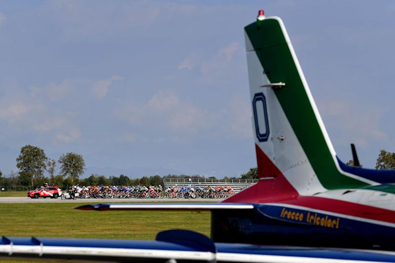 PIANCAVALLO ITALY OCTOBER 18 Start Frecce Tricolori Air Patrol Aerial exhibition Base Aerea Rivolto Peloton Plane Detail view during the 103rd Giro dItalia 2020 Stage 15 a 185km stage from Base Aerea Rivolto Frecce Tricolori to Piancavallo 1290m girodiitalia Giro on October 18 2020 in Piancavallo Italy Photo by Stuart FranklinGetty Images