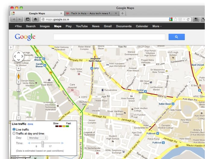 Google Maps Brings Live Traffic Data, In-Car Navigation, to ... on bangalore india, google street view india, google goggles, google sky, microsoft india, google pune map, google moon, google mars, google docs, google 1998 version, google chrome, mcmahon line india, web mapping, yahoo! maps, google map maker, google latitude, google street view, google translate, google pakistan, skype india, google map secrets 2014, physical features of india, google map of england and scotland, vimeo india, google mapquest, satellite map images with missing or unclear data, show place in india, live satellite map india, google voice, google earth, google search, google finance india, bing maps, route planning software,