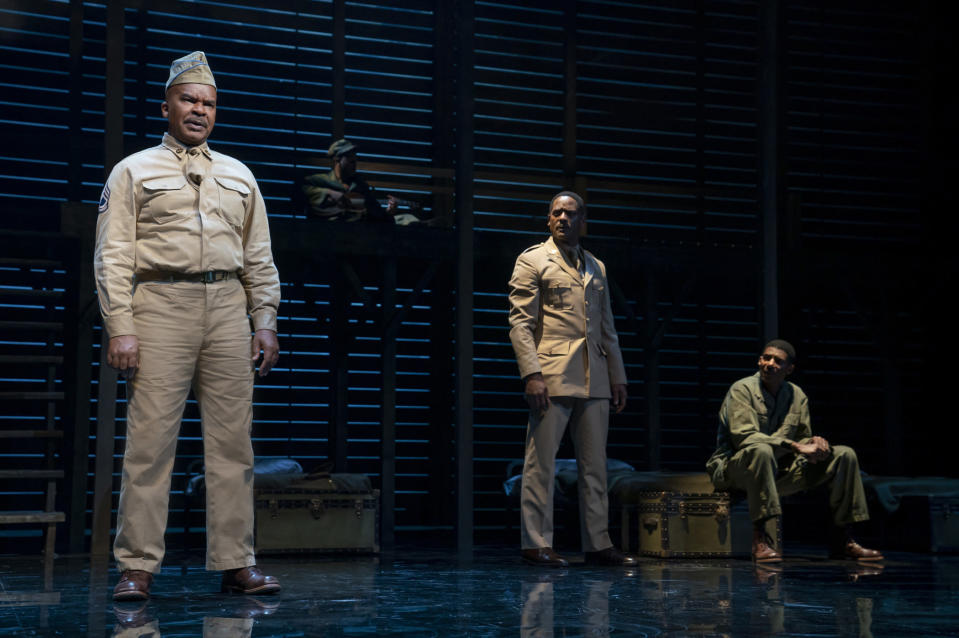 "This image released by Polk & Co. shows David Alan Grier, from left, Blair Underwood, and Billy Eugene Jones during a performance of ""A Soldier's Play"" in New York. Costume designer Dede Ayite has earned two 2021 Tony Award nominations for costume design, one for ""Slave Play"" and another for ""A Soldier's Story."" (Joan Marcus/Polk & Co. via AP)"